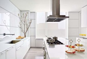 Which colors make a small kitchen look bigger