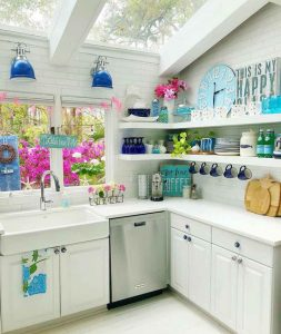 blue and white small kitchen