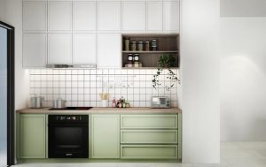 green kitchen cabinets in small kitchen