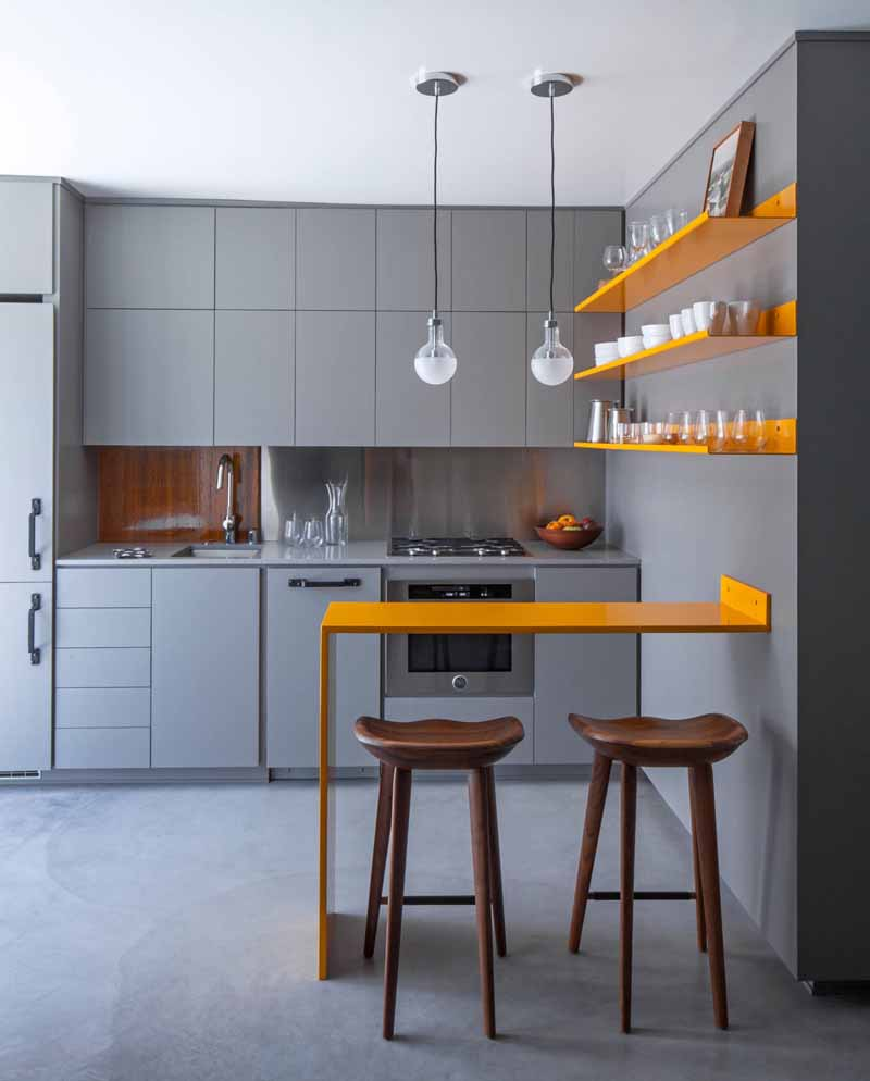 grey and yellow small kitchen