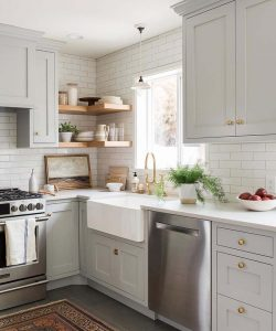 open shelved functional small kitchen
