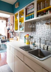 open shelved small kitchen