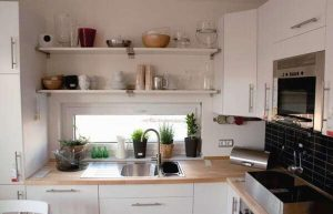 open shelves in small kitchen