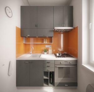 small kitchen decor with gray cabinets