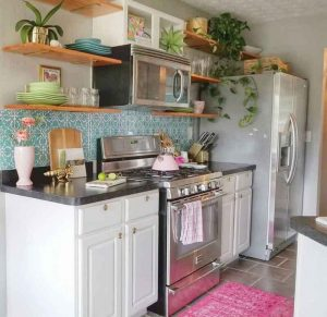 small kitchen with flowers