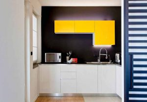 yellow accent small kitchen