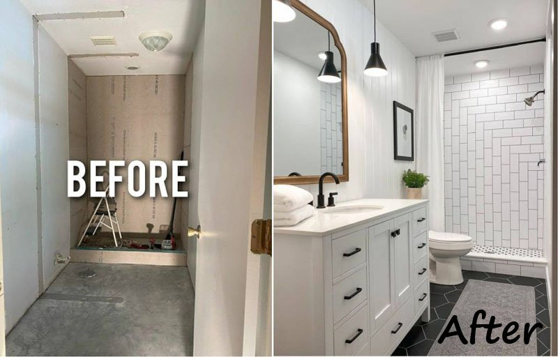 bathroom faucet and shower heads renovation before after