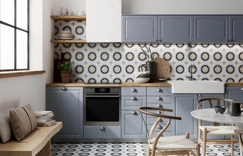patterned kitchen floow and wall tiles