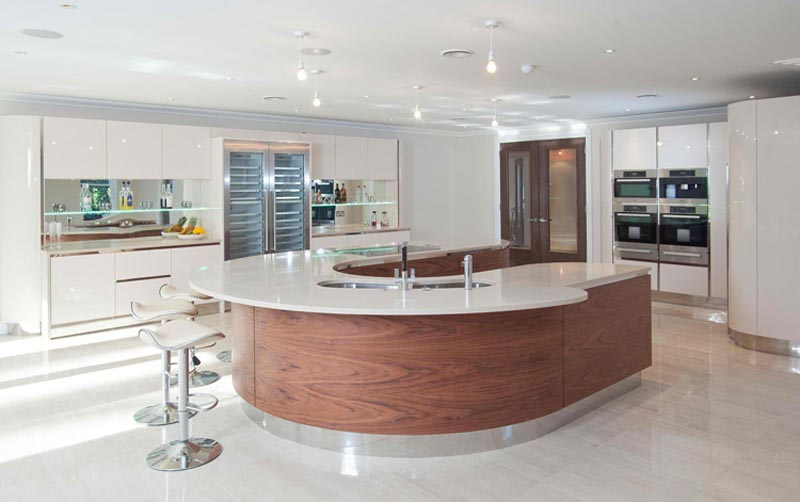 kitchen with curve details