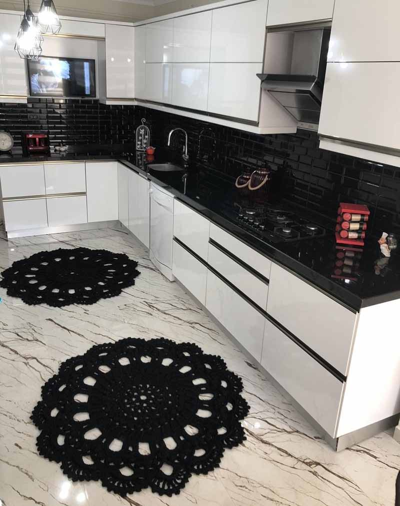 black wall white cabinets